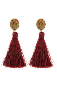 A1-2-2-AJEB141WGBUR BURGUNDY STONE WITH TASSEL POST EARRINGS/6PAIRS