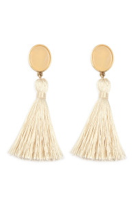 A2-3-2-AJEB141WGIVY IVORY STONE WITH TASSEL POST EARRINGS/6PAIRS
