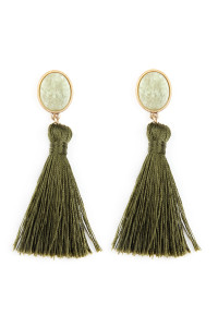 A2-3-2-AJEB141WGOLV OLIVE STONE WITH TASSEL POST EARRINGS/6PAIRS
