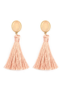 A2-2-4-AJEB141WGPNK PINK STONE WITH TASSEL POST EARRINGS/6PAIRS