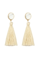 S22-6-3-JEB141WGWHT - STONE WITH TASSEL POST EARRINGS - WHITE/6PCS