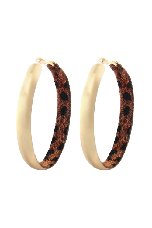 C-1-4/S19-1-2-JEB249MGDBW - INSIDE ANIMAL PRINT HOOP EARRINGS STYLE 1 - DARK BROWN/6PCS