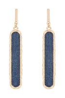 S23-7-5-JEB417WGBLE - DENIM BAR EARRINGS-BLUE/6PAIRS
