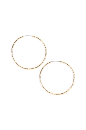 "S4-6-3-AJHE3005-3G GOLD 1"" TEXTURED ENDLESS HOOP EARRING/6PAIRS"
