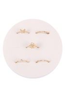 S5-6-3-JRA226GD-5 SET RING BUTTERFLY  AND FLOWER /6PCS