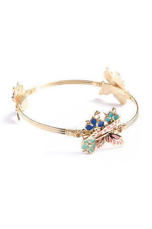 S5-6-2-AJTB0281GMT GOLD METALLIC FLOWER & BUTTERFLY WIRED BRACELET/12PCS