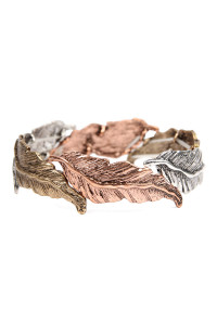 S5-6-2-AKB0302MTB ROSE GOLD MULTI CAST METAL FEATHER STRETCH BRACELET/6PCS