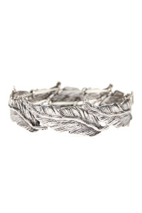 SA4-3-3-AKB0302SB SILVER CAST METAL FEATHER STRETCH BRACELET/6PCS