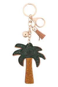 S18-7-2-KC380X001 - PALM TREE RHINESTONE TASSEL KEYCHAIN - GREEN/6PCS
