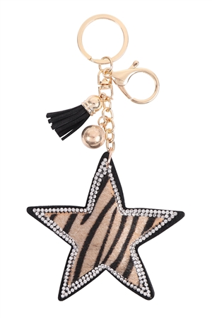 S26-9-2-KC380X205 - STAR TIGER TASSEL KEYCHAIN/6PCS