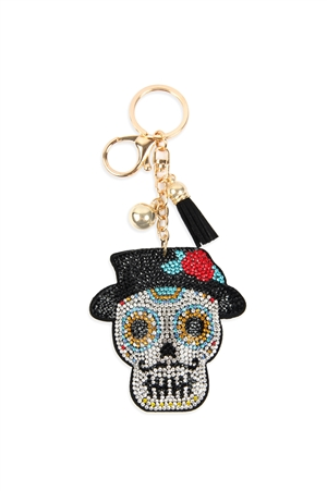 S28-7-3-KC380X241  - SUGAR SKULL WITH HAT TASSEL RHINESTONE KEYCHAIN /6PCS