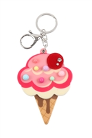 S20-11-5-KC417X018- ICECREAM RHINESTONE W/ MIRROR KEYCHAIN/6PCS