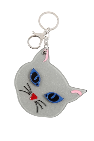 S20-11-5-KC417X031A- GRAY/WHITE ASSORTED CAT W/ MIRROR KEYCHAIN/6PCS