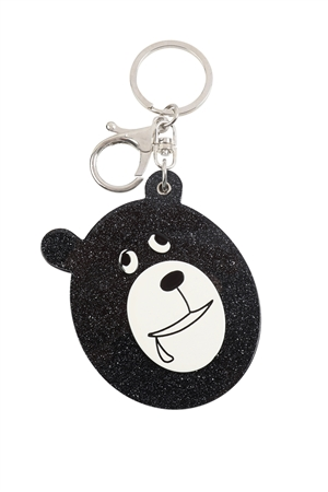 S20-10-5-KC417X033A - BLACK/BROWN ASSORTED DROOLY BEAR W/ MIRROR KEYCHAIN/6PCS