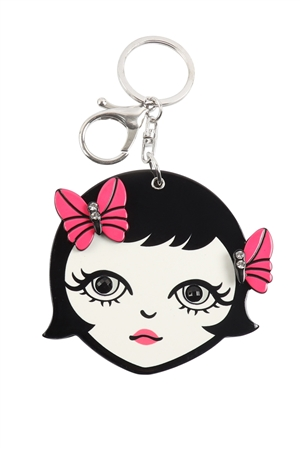 S20-11-5-KC417X039- PINK LIP GIRL  W/ MIRROR KEYCHAIN/6PCS