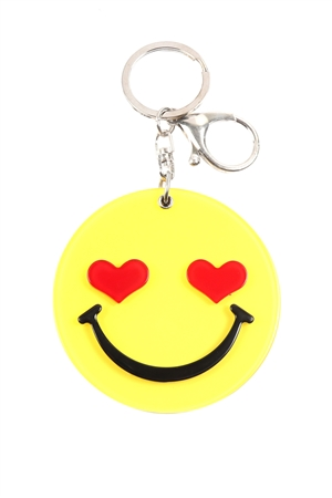 S20-10-5-KC417X043- HEART EYE SMILEY W/ MIRROR KEYCHAIN/6PCS
