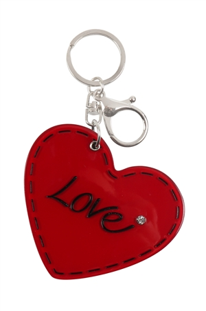 S20-10-5-KC417X044- LOVE HEART W/ MIRROR KEYCHAIN/6PCS