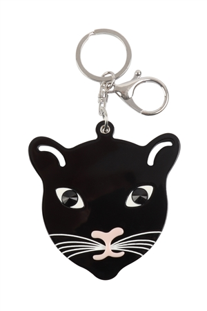 S20-10-5-KC417X049- BLACK CAT W/ MIRROR KEYCHAIN/6PCS