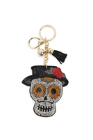 S17-3-3-KC440X018  - SUGAR SKULL WITH HAT TASSEL RHINESTONE KEYCHAIN - BROWN/6PCS