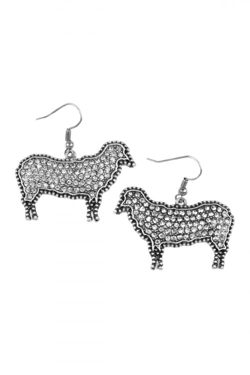 A2-1-3-AKE0216SBCL SILVER SHEEP CAST RHINESTONE INSET HOOK EARRINGS/6PAIRS