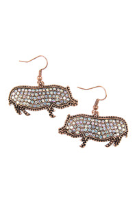 SA4-3-4-AKE0218CBAB BURNISH GOLD CAST METAL PIG WITH RHINESTONE INSET HOOK EARRINGS/6PAIRS