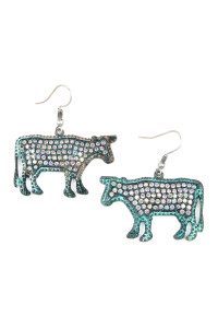 S4-6-3-AKE0219PTAB SILVER TURQUOISE METAL COW CAST WITH RHINESTONE INSET EARRINGS/6PAIRS