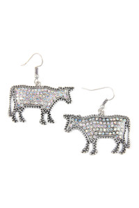 S4-6-2-AKE0219SBAB BURNISH SILVER METAL COW CAST WITH RHINESTONE INSET EARRINGS/6PAIRS
