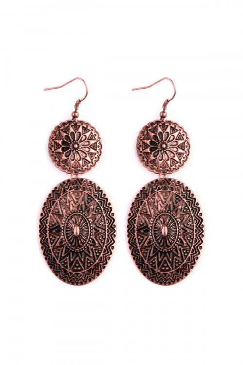 A1-2-3-AKE0438CB BURNISH COPPER CHEVRON MANDALA DANGLE EARRINGS/6PAIRS