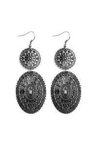 S5-4-4-AKE0438SB BURNISH SILVER CHEVRON MANDALA DANGLE EARRINGS/6PAIRS