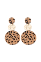 S22-6-3-KE7012DBR - ROUND LEOPARD LEATHER WITH METAL LINK DROP EARRINGS - DARK BROWN/6PCS