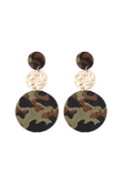S22-6-3-KE7012GR - ROUND CAMOUFLAGE LEATHER WITH METAL LINK DROP EARRINGS - GREEN/6PCS