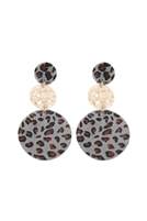 S22-6-3-KE7012LGY - ROUND LEOPARD LEATHER WITH METAL LINK DROP EARRINGS - LIGHT GRAY/6PCS