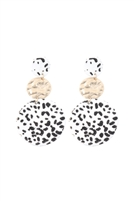 S22-6-3-KE7012WGBW - ROUND LEOPARD LEATHER WITH METAL LINK DROP EARRINGS - BLACK WHITE/6PCS