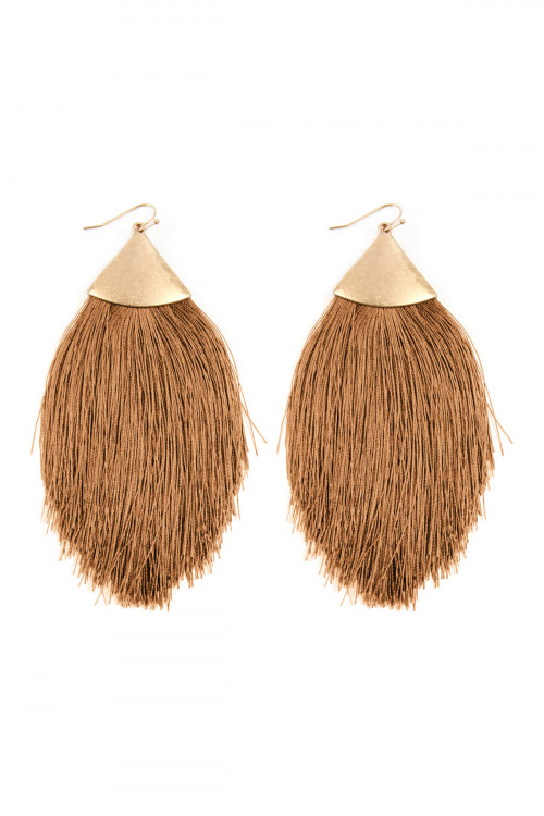 A2-1-4-AKE7026WGBR BROWN TASSEL DROP EARRINGS/6PAIRS