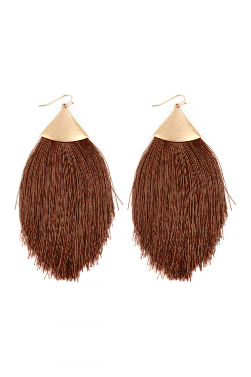 A1-2-3-AKE7026WGDBR DARK BROWN TASSEL DROP EARRINGS/6PAIRS