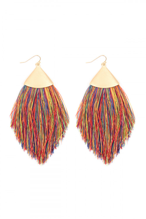 A2-2-2-AKE7026WGMT DARK MULTI COLOR TASSEL DROP EARRINGS/6PAIRS