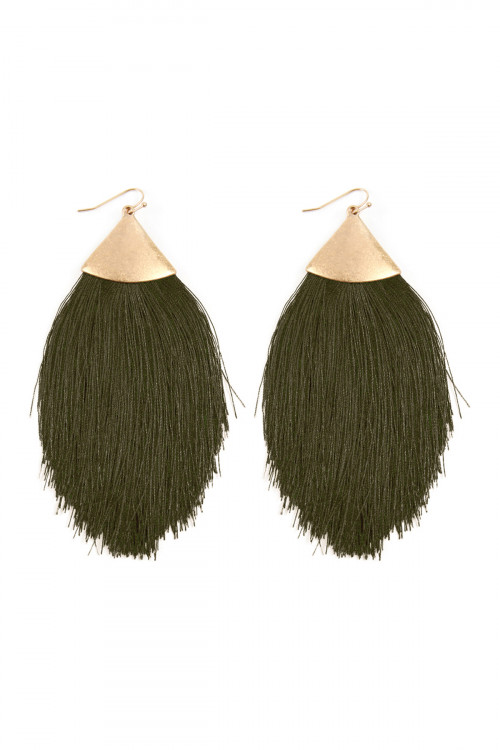 A2-1-3-AKE7026WGOL OLIVE TASSEL DROP EARRINGS/6PAIRS