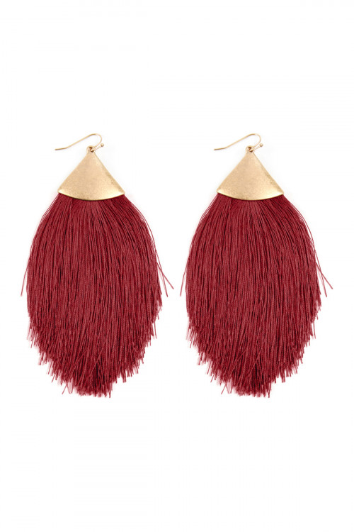 A3-2-2-AKE7026WGRD RED TASSEL DROP EARRINGS/6PAIRS