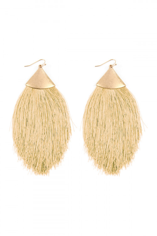 A3-2-2-AKE7026WGSA SAND TASSEL DROP EARRINGS/6PAIRS