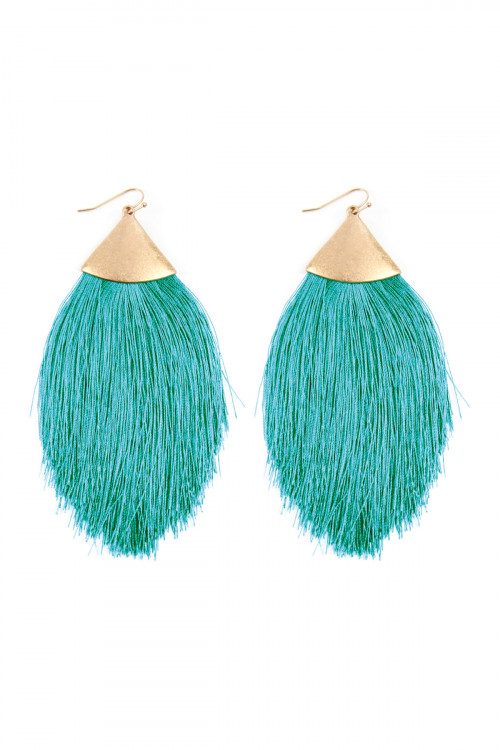 A3-2-2-AKE7026WGTL TEAL TASSEL DROP EARRINGS/6PAIRS