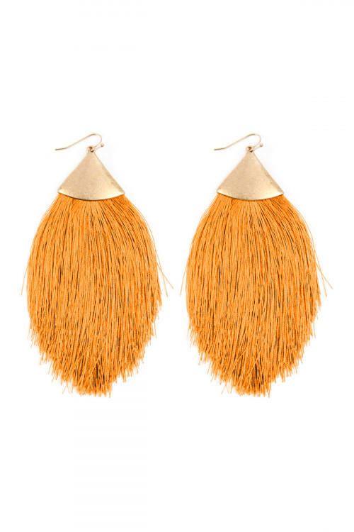 A2-1-3-AKE7026WGYL YELLOW TASSEL DROP EARRINGS/6PAIRS