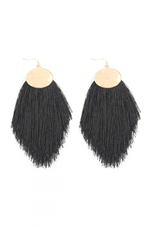 A1-3-4-AKE7029BK BLACK THREAD TASSEL HOOK DROP EARRINGS/6PAIRS