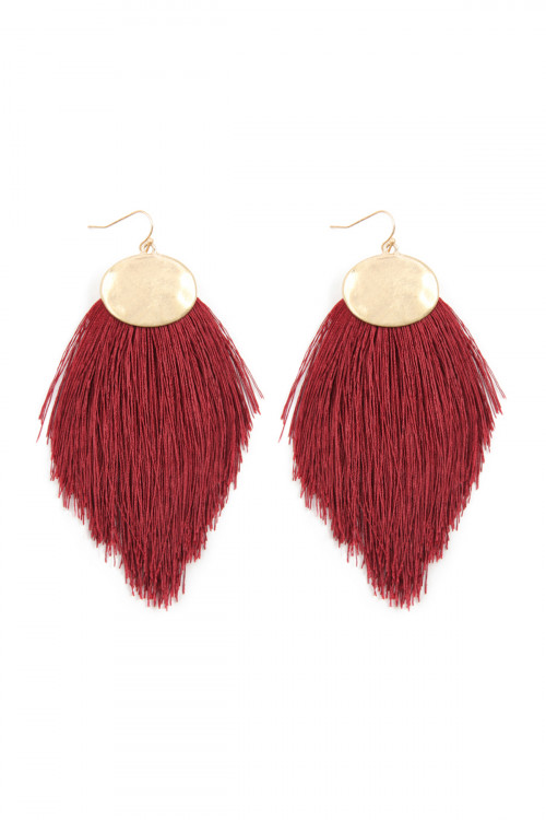 A1-3-4-AKE7029DRD DARK RED THREAD TASSEL HOOK DROP EARRINGS/6PAIRS