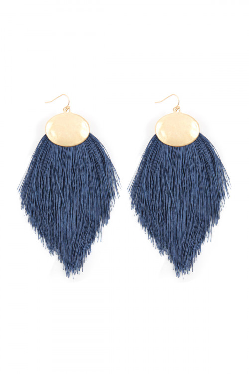 A1-3-4-AKE7029NY NAVY THREAD TASSEL HOOK DROP EARRINGS/6PAIRS