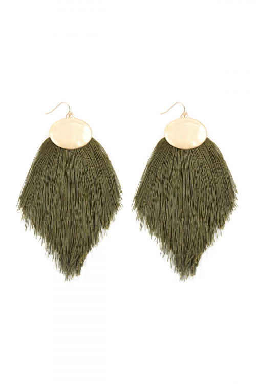 A1-3-4-AKE7029OL OLIVE THREAD TASSEL HOOK DROP EARRINGS/6PAIRS