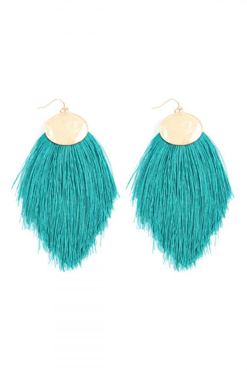 A1-3-4-AKE7029TL TEAL THREAD TASSEL HOOK DROP EARRINGS/6PAIRS