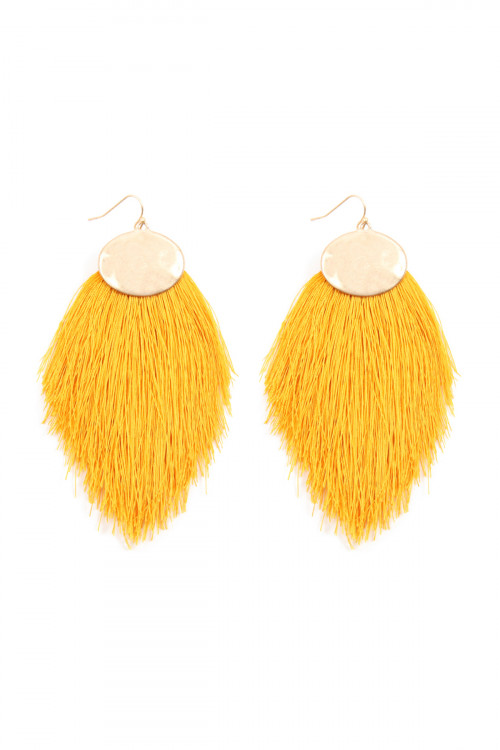 A1-3-4-AKE7029YL YELLOW THREAD TASSEL HOOK DROP EARRINGS/6PAIRS