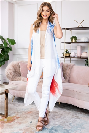 S18-7-5-KSF-268 - USA ACCENT KNEE LENGTH OPEN FRONT KIMONO VEST/6PCS
