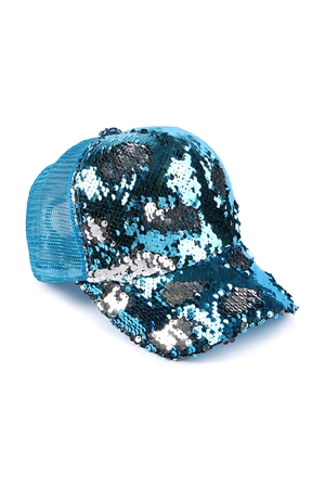 211-4-1-ALB7807TS TURQUOISE SILVER TWO TONE SEQUIN BASEBALL CAP/6PCS