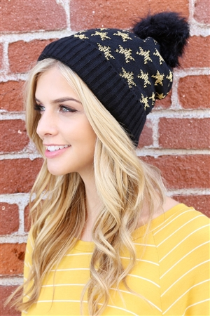 S2-5-2-ALB7812BK BLACK BEANIE WITH EMBROIDERED STARS/6PCS